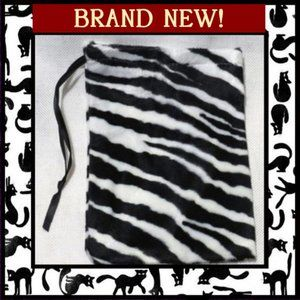 Handbags - Furry Zebra Accessory Storage Pouch Bag